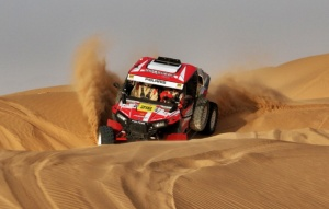 Merzouga Rally 2014 Johnny Aubert on top of the second stage